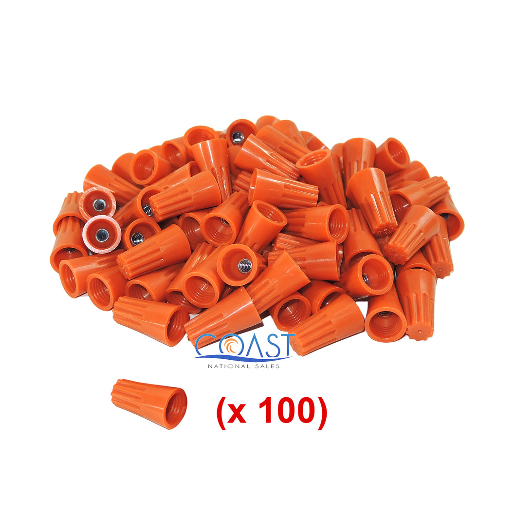 Straight Barrel Orange Twist-on Wire Connector 22-14 AWG GA UL Listed - 100 PCS