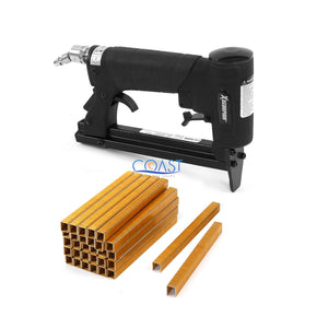 "Heavy-Duty 22 Gauge Automatic Upholstery Pneumatic Stapler + 10000 1/4"" Staples"