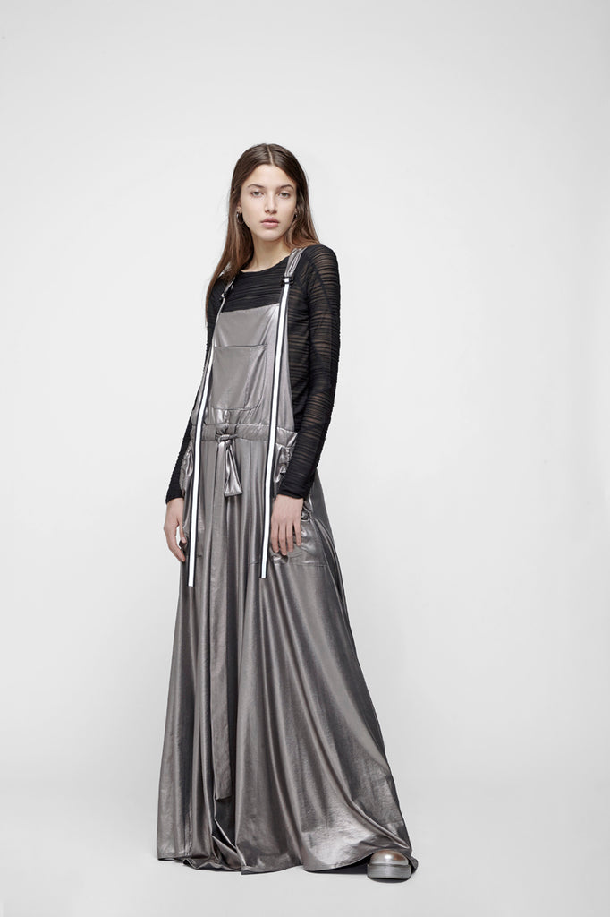 Matte silver overalls gown
