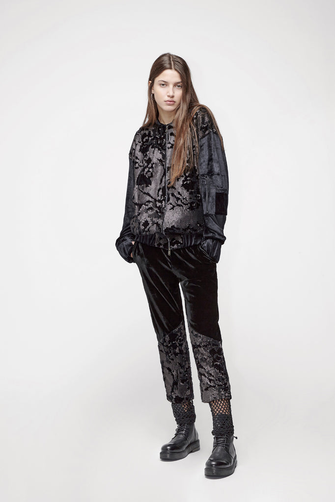 Velvet sequined double-layer jogging trousers