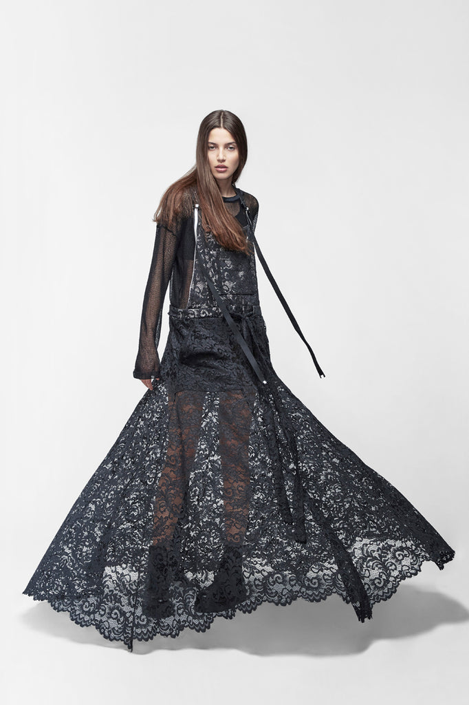 Black lace overalls-gown