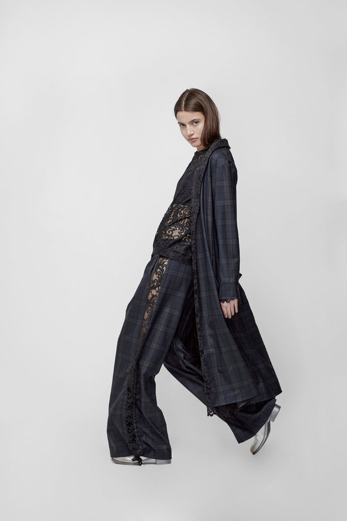 Reversible tartan and lace long coat