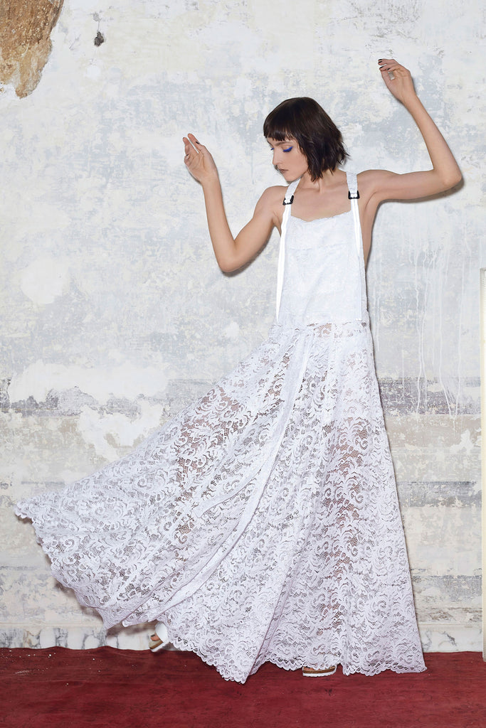 Guipure lace gown overalls