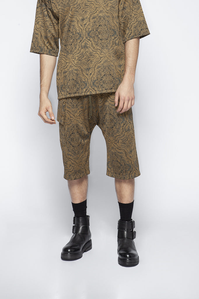 Golden jacquard basketball trousers