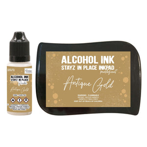 Stayz in Place Alcohol Ink Pad with 12ml reinker - Antique Gold Pearlescent