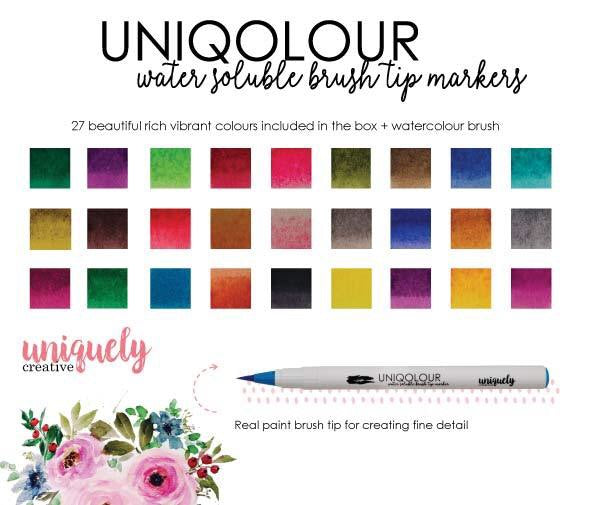 Uniqolour water soluble brush tip markers