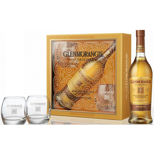 Glenmorangie 10 Year Old Single Malt Scotch Whisky 750ml & 2 Glass Gift Pack