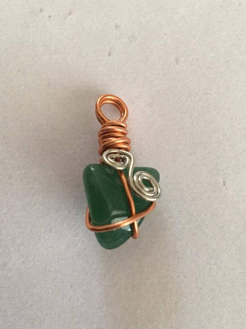 Handcrafted Jade Pendant  Wrapped With Silver Coated And Copper Wire