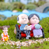 3Pc Kawaii Figures Chair Book Grandma Grandpa Old Couple DIY Mini Fairy Garden Ornament  Doll Couple Gift Figurines Miniature