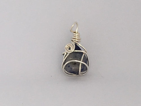 Handcrafted Sodalite Pendant Wrapped With Silver Coated Copper Wire