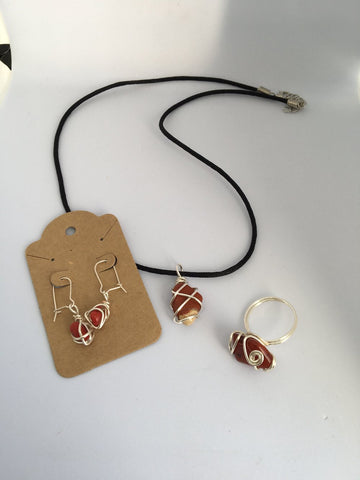 Handcrafted Pendant and Chain, Earrings and Ring Set