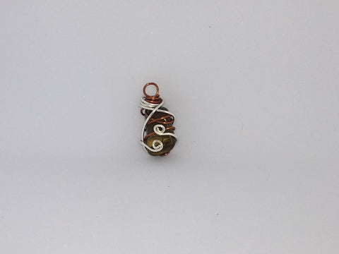 Handcrafted Tigers Eye Pendant Wrapped With Silver Coated Copper Wire