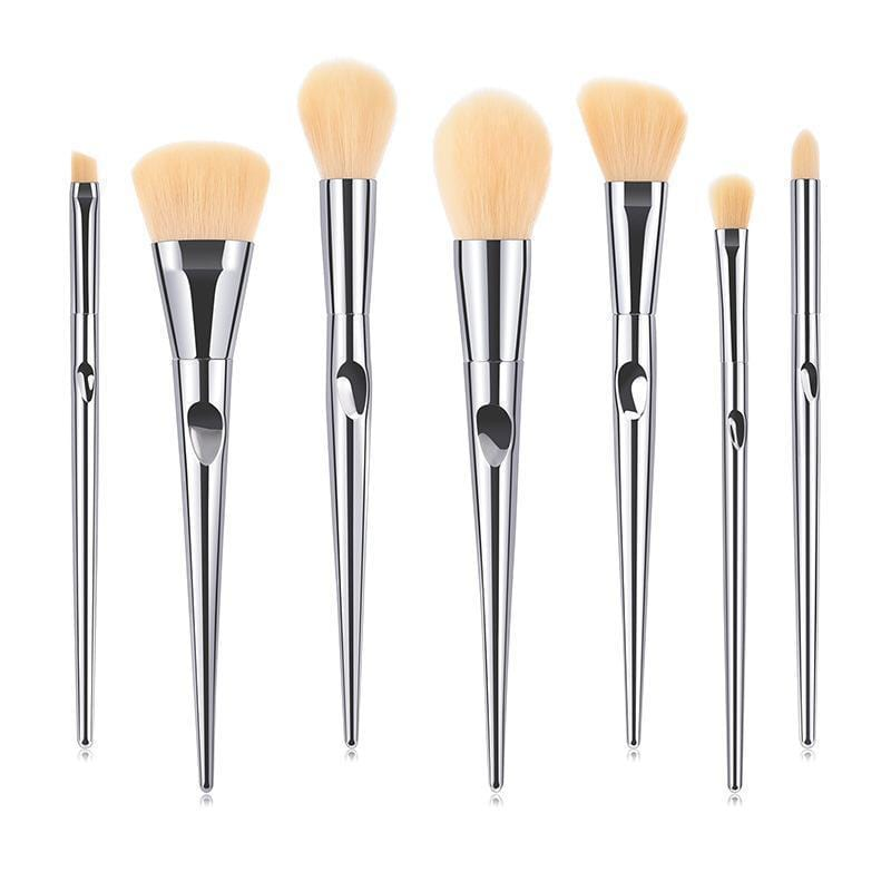 Silver Make Up Brush Sets - Limited Edition 7pcs - Loolacosmetics