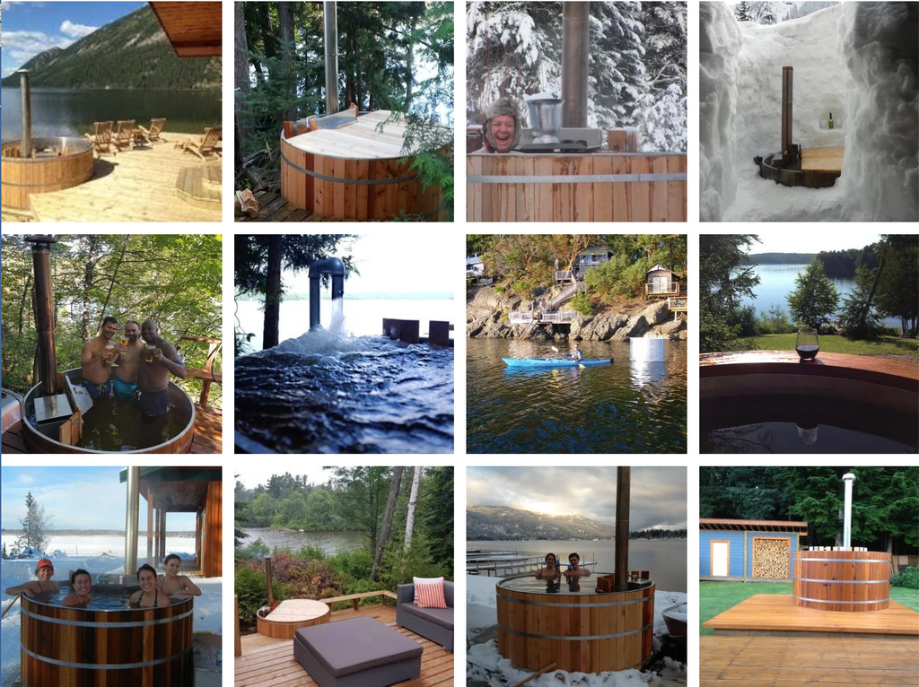 Wood-fired cedar aluminum hot tub