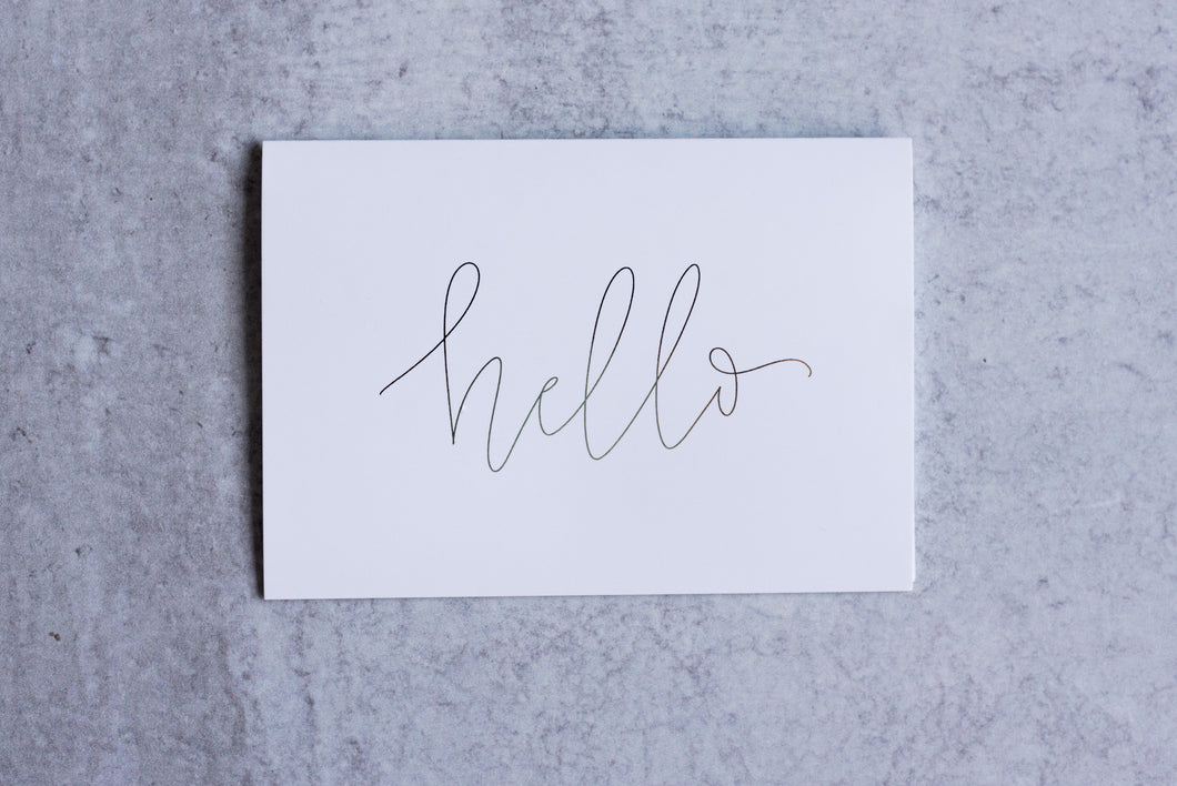 Hello Greeting Card Set (Pack of 5) - Seville Lettering Company