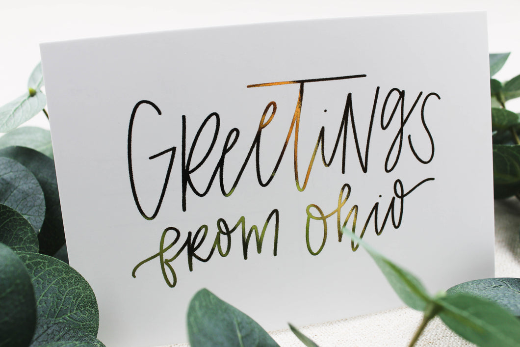 Greetings From Ohio Postcard - Seville Lettering Company