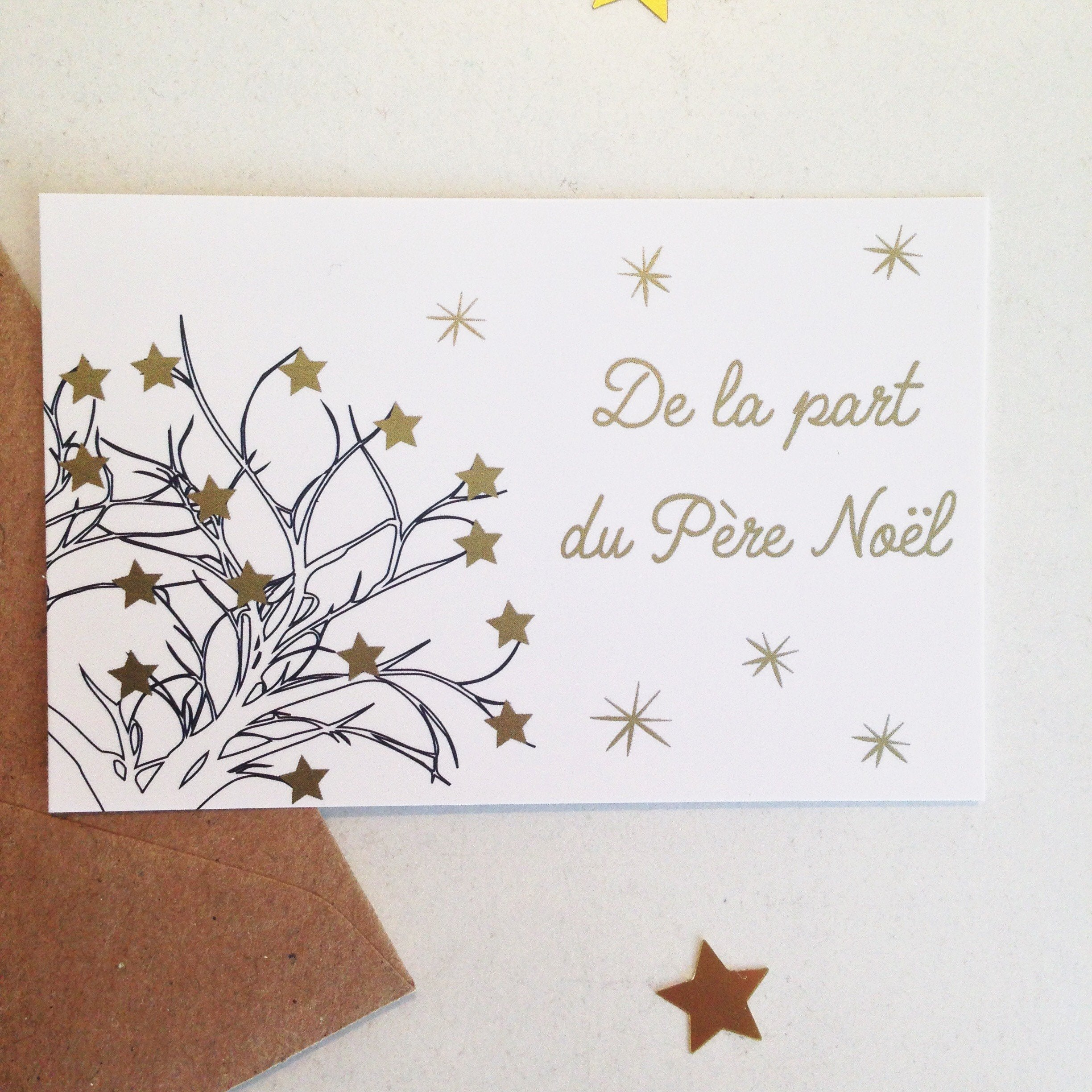 "Lot de 5 mini cartes ""de la part du père Noël"""