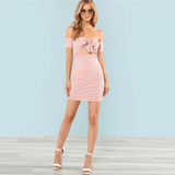 Women's Off The Shoulder Dress With Pink Bow | RnD International