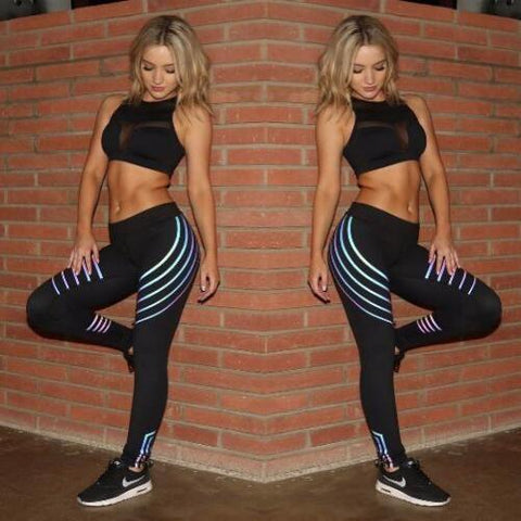 Women's Yoga Gym Leggings Tight Push Up Pants with Shiny Lines | RnD International