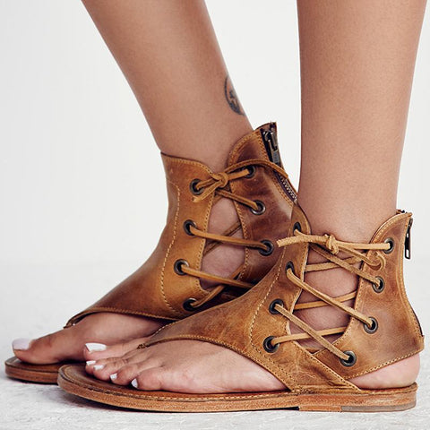 Women's Flat Gladiator Leather Sandals for Summer | RnD International