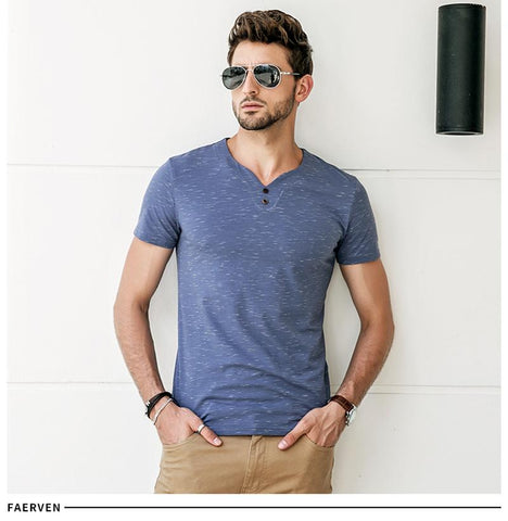Men's Casual T Shirt with V Neck and Buttons | RnD International