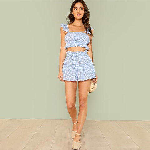 Women's Two Pieces Trim Plaid Crop Top and Short | RnD International
