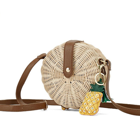 Women's Round Shaped Rattan Beach Shoulder Bag | RnD International
