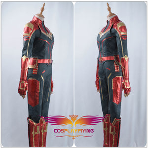 2019 Captain Marvel Carol Danvers Ms. Marvel Superhero Cosplay Costume Burgundy Blue Faux Leather Female Girls Outfit