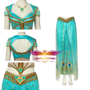 2019 Movie Aladdin Disney Princess Jasmine Adult Women Cosplay Costume Full Set with Accessories for Halloween Carnival