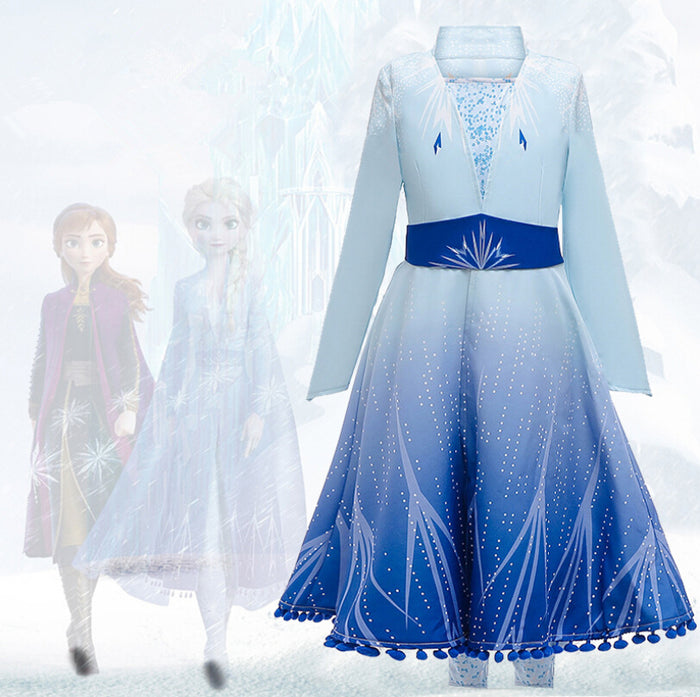 2019 New Disney Anime Movie Frozen 2 Princess Elsa Child Version Cosplay Costume for Halloween Carnival Party