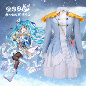 2020 New Vocaloid Snow Miku Hatsune Miku Blue Uniform Cosplay Costume for Halloween Carnival