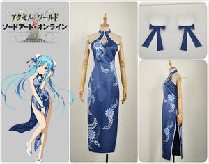 Accel World VS. Sword Art Online Deluxe Edition Yuuki Asuna Blue Cheongsam Cosplay Costume