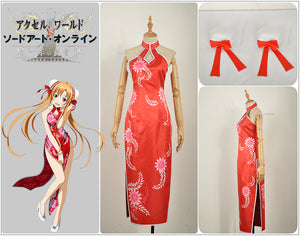 Accel World VS. Sword Art Online Deluxe Edition Yuuki Asuna Red Cheongsam Cosplay Costume