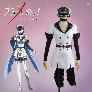 Akame ga Kill Esdeath Cosplay Costume Women Clothing White Dress Full Set Outfit with Hat