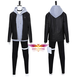 Akudama Drive Courier Hakobiya Cosplay Costume Black Coat Gray Hoodie Halloween Carnival Adult Outfits