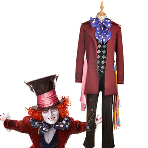 Alice in Wonderland:Through the Looking Glass Mad Hatter Fashion Cosplay Costume Full Set with Hat and Accessories