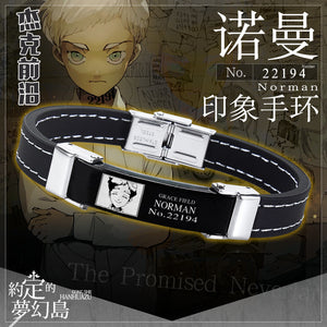 Anime The Promised Neverland Phil Gilda Don Ray Norman Emma Cosplay Prop Black Faux Leather Armlet Cuff Bracelets Bangle