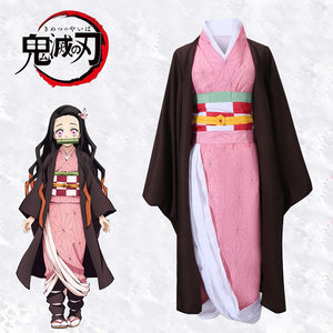 Anime Demon Slayer: Kimetsu no Yaiba Kamado Nezuko Cosplay Costume Halloween Carnival Adult Outfit Version B