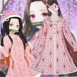 Anime Demon Slayer: Kimetsu no Yaiba Kamado Nezuko Cosplay Costume Pink Pajamas Sleepwear
