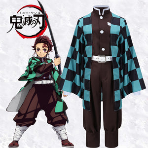 Anime Demon Slayer: Kimetsu no Yaiba Kamado Tanjirou Cosplay Costume Halloween Carnival Adult Outfit Version B