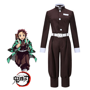 Anime Demon Slayer: Kimetsu no Yaiba Kamado Tanjirou Cosplay Costume without Cloak Halloween Carnival Adult Outfit