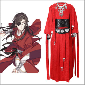 Anime Heaven Official's Blessing Tian Guan Ci Fu Hua Cheng Red Han Fu Robe Cosplay Costume for Adult