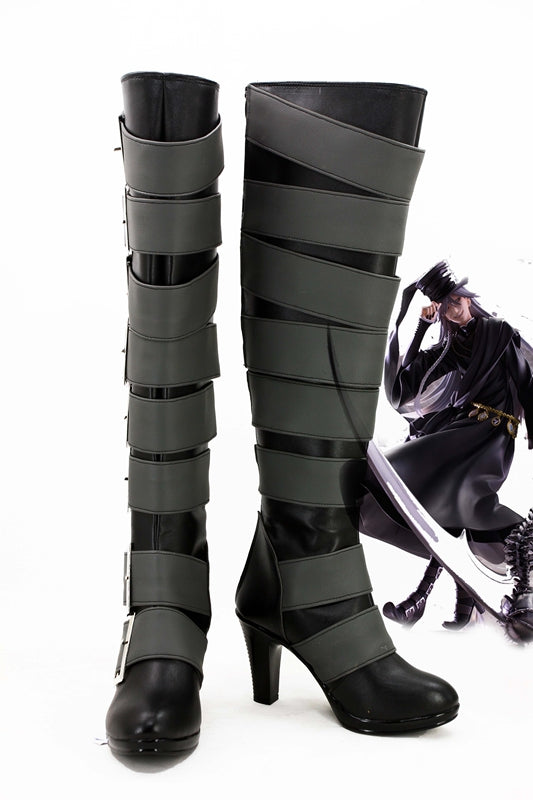 Anime Comics Black Butler Under Taker Cosplay Shoes Boots Custom Made for Adult Men and Women Halloween Carnival Version B