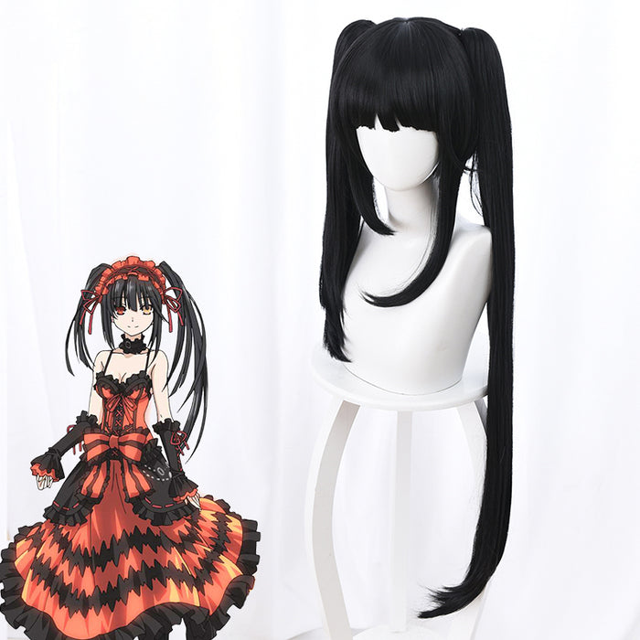 Anime Date A Live Nightmare Tokisaki Kurumi Black Long Horsetail Cosplay Wig Cosplay for Girls Adult Women Halloween Carnival Party
