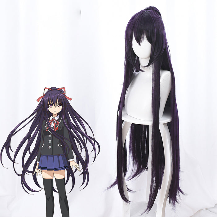 Anime Date A Live Yatogami Tohka 100cm Dark Purple Horsetail Long Cosplay Wig Cosplay for Girls Adult Women Halloween Carnival Party