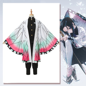 Anime Demon Slayer: Kimetsu no Yaiba Kochou Shinobu Cosplay Costume Butterfly Printed Kimono Halloween Carnival