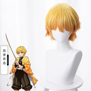 Anime Demon Slayer :Kimetsu no Yaiba Zenitsu Agatsuma Short Golden Brown Cosplay Wig Cosplay for Boys Adult Men Halloween Carnival Party
