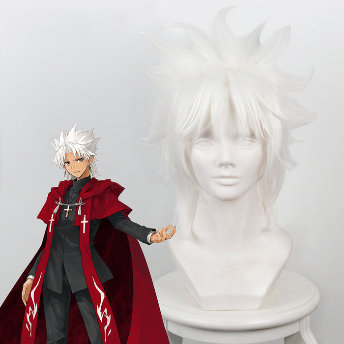 Anime Fate/Grand Order/Apocrypha Amakusa Shirou Tokisada Kotomine White Fluffy Layered Cosplay Wig Cosplay for Adult Women Halloween Carnival