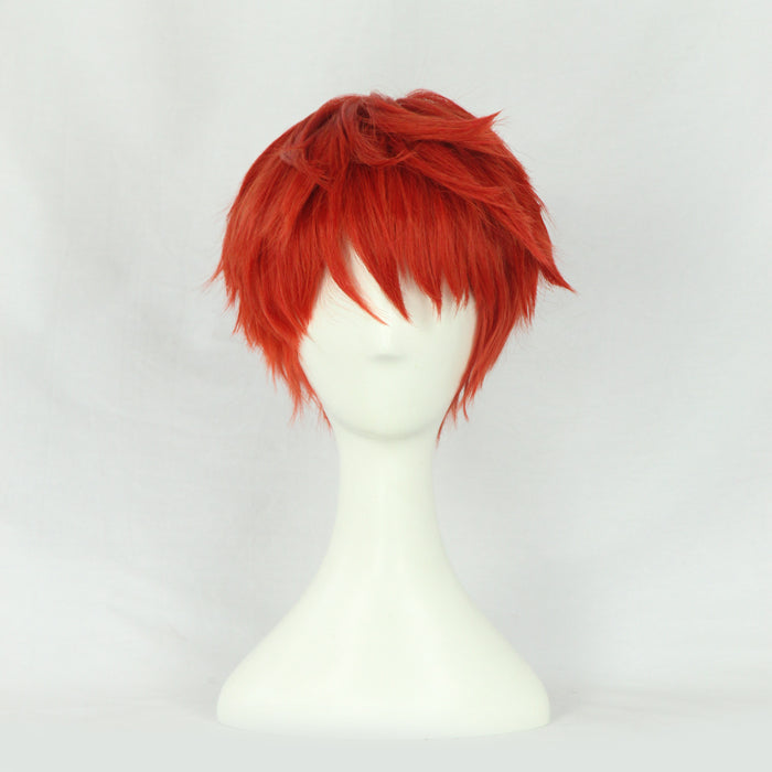 Anime Fate/Stay Night FGO Emiya Shirou Short Fluffy Layered Red Orange Cosplay Wig Cosplay for Adult Men Halloween Carnival