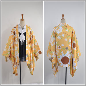 Anime Hanayamata Machi Tokiwa Yellow Flower Printed Kimono Sailor Suit Female Cosplay Costume for Carnival Halloween